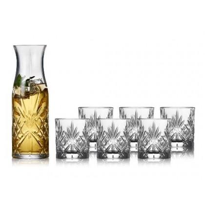 LYNGBY GLAS MELODIA KARAFFELSÆT 7 dele. 6 stk. vandglas, 23 cl og 1 stk. karaffel, 1 l.