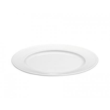4 stk. Plissé tallerken flad hvid - 20 cm.